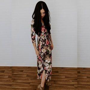 Floral Faux Wrap Maxi Dress - Burgundy